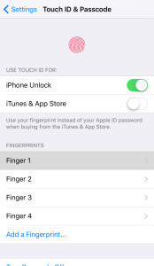 Touch ID fingers