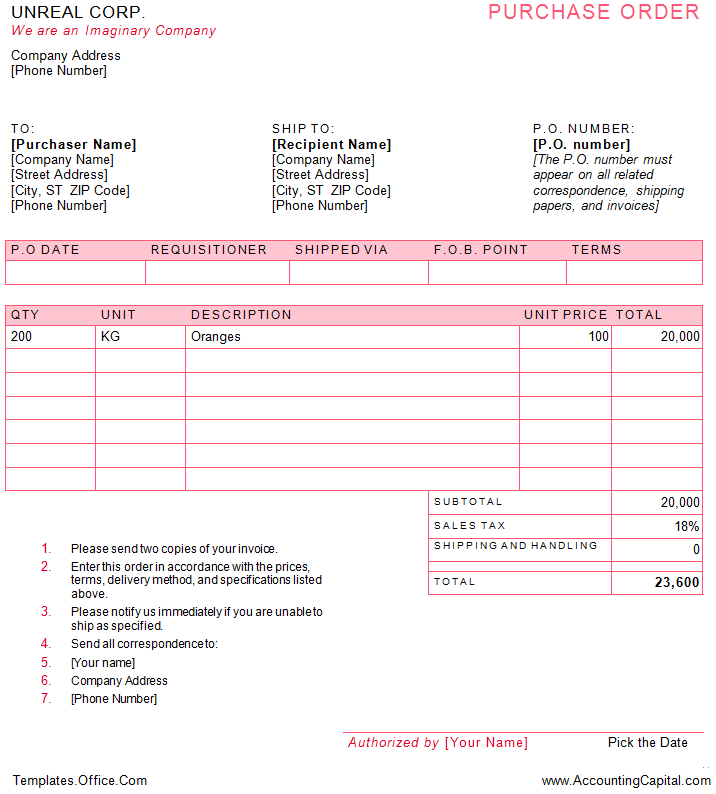 Purchase order or PO example