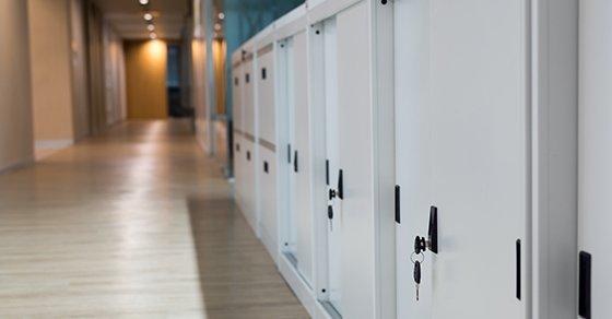 Row full of white lock safes