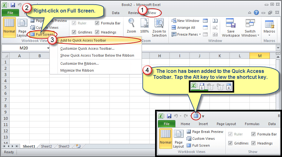 Restoring Full Screen Command in Excel 2013 or Later ...