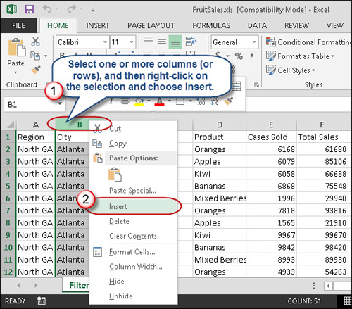 Image result for inserting rows excel 2013 context menu