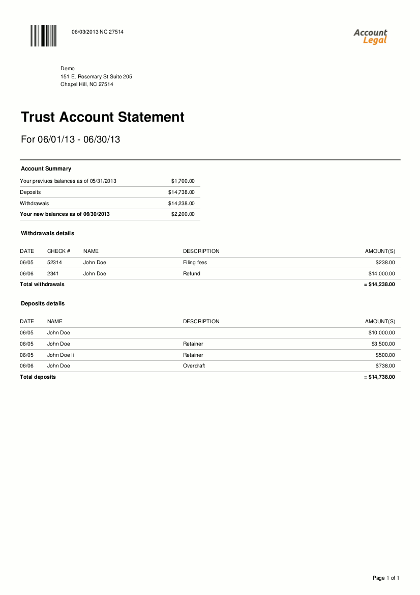 Security Bank Statement Account