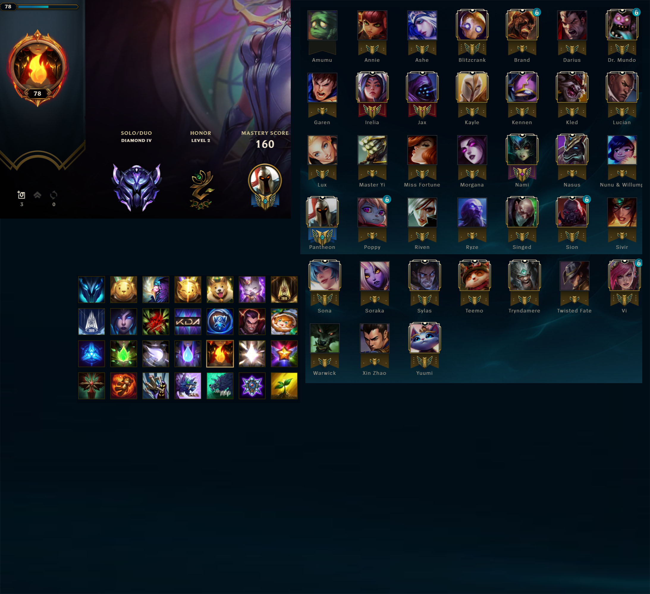 League of Legends Account for Sale: Diamond IV | 38 Champions | 5 Skins | Great MMR