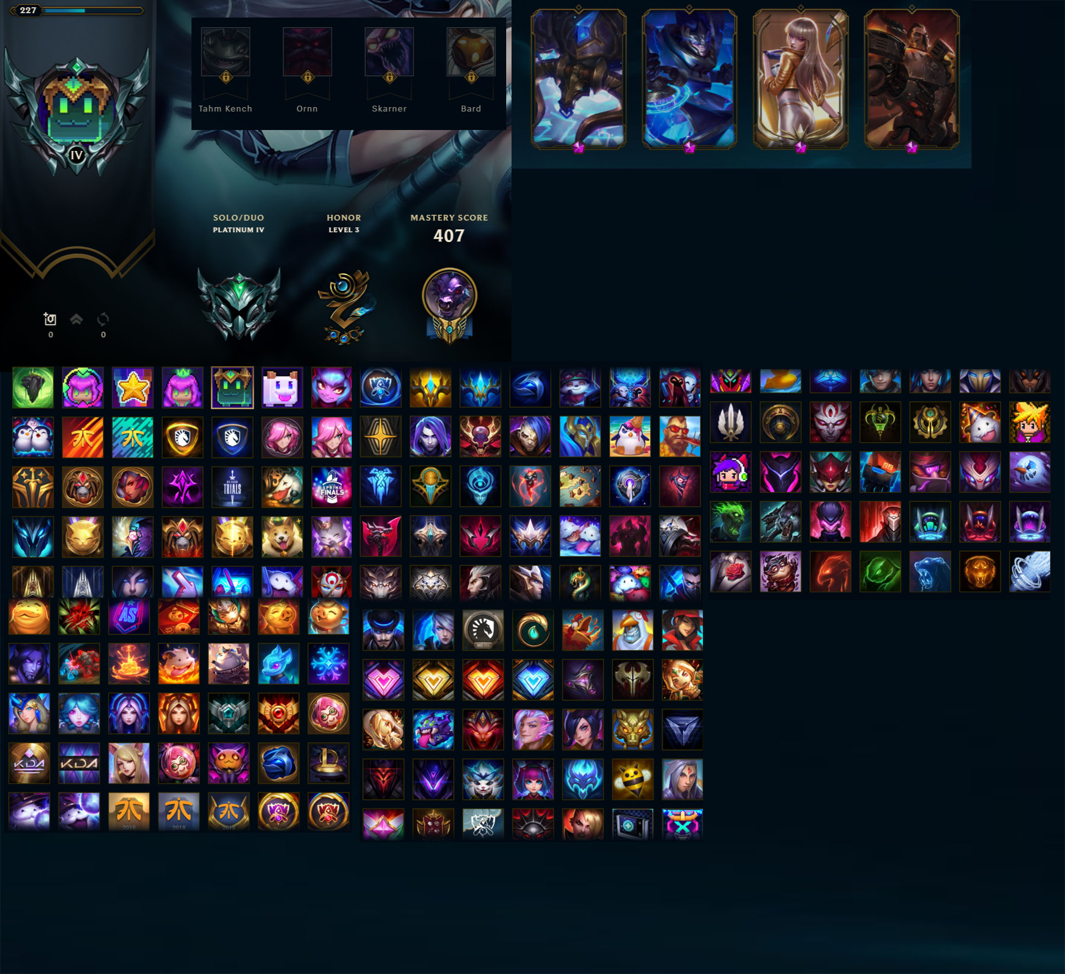 League of Legends Account for Sale: Platinum IV | 141 Champions | 374 Skins | S8 Gold | Victorious Oriana