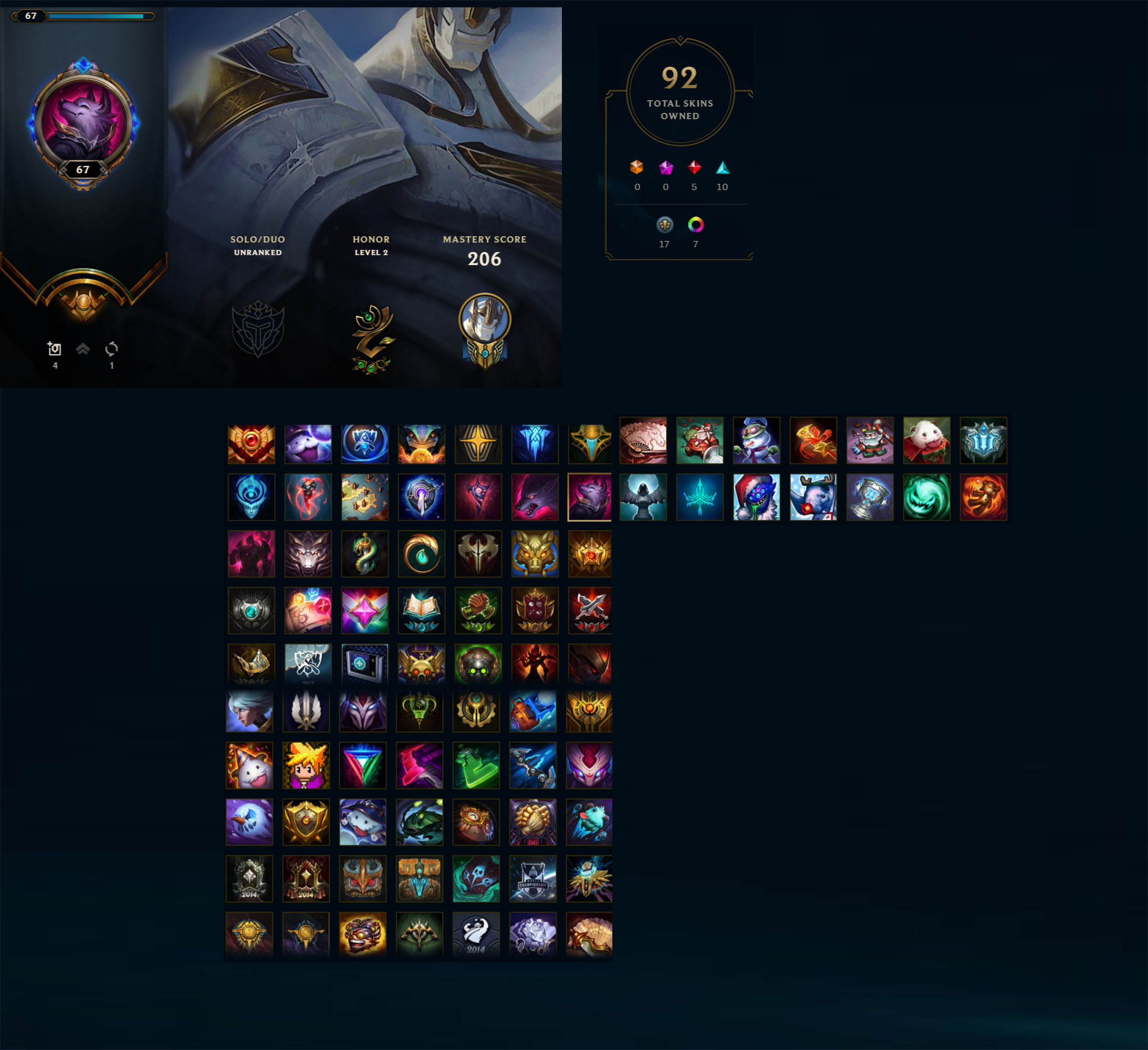 League of Legends Account for Sale: Unranked | 146 Champions | 92 Skins | Victorious Oriana | Victorious Graves