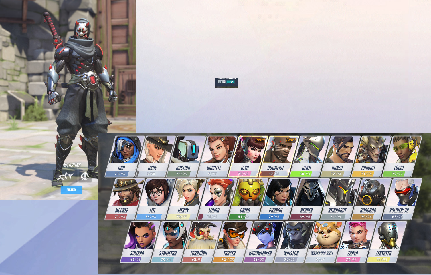 Overwatch Account For Sale Unranked 8 Golden Guns 85 Legendary Skins 48 Epic Skins Oni