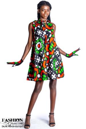 African Print Bow Collar Shift Dress