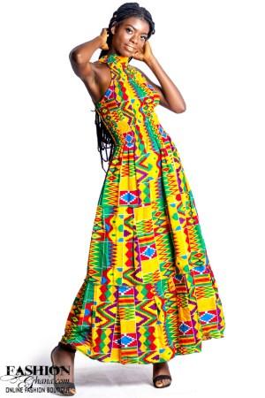 African Print Halter Neck Maxi Dress