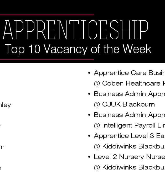 Top 10 Vacancies Of The Week accrington and rossendale top 10 apprenticeship vacancies
