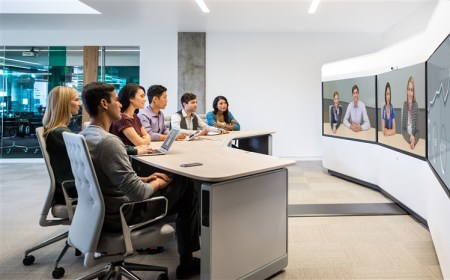 business professionals on video conference call