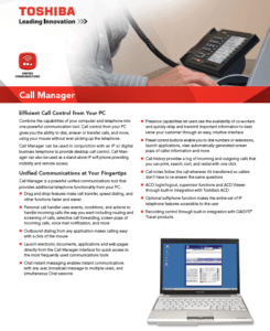 Toshiba Call Manager- Computer Call Control Application brochure