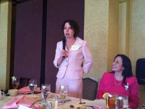 Oncologist-Hematologist Galina Vugman answers a question Wednesday at the annual Lakeland Breast Cancer Awareness Luncheon. Beside her is radiation oncologist Sandra Sha, another Watson Clinic physician on the panel.