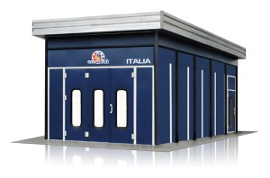 Accudraft Italia Outdoor Paint Booth with Rear Mechanicals in Blue Exterior Vinyl Color