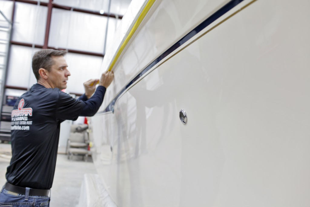 marine paint booth for boats, ships and vessels needing application of marine paint and gel coatings