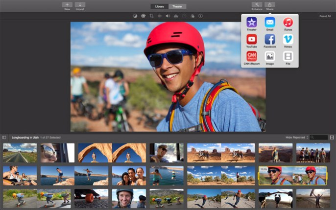 Sharing options in iMovie includes Facebook, Vimeo, or your own hard disk.