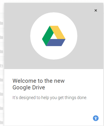 New Drive welcome message.