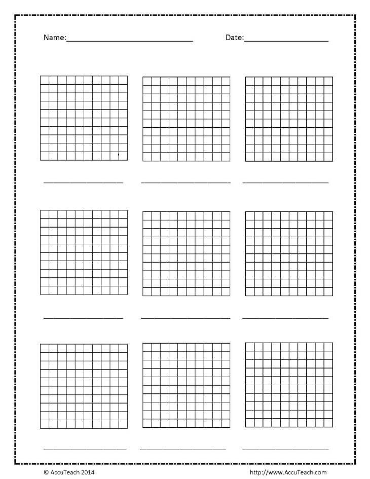 Blank,  Base Ten,  Hundreds Frame