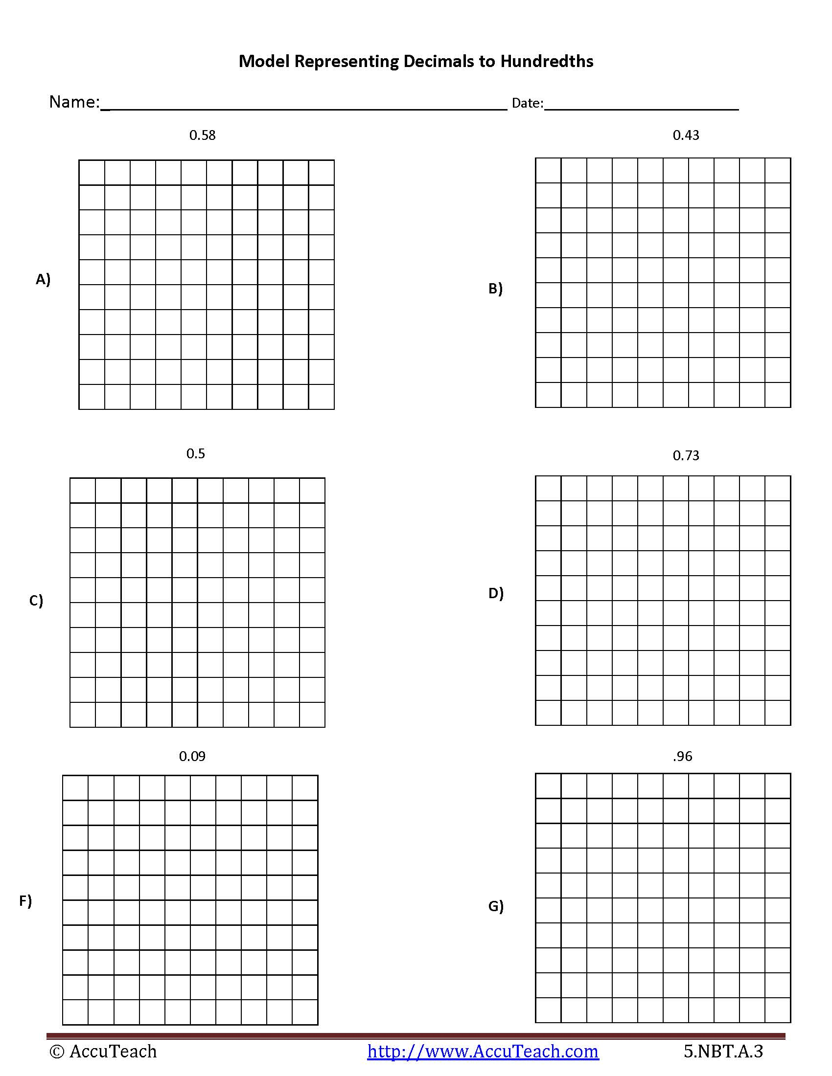 Ten Block Math Worksheet Grids