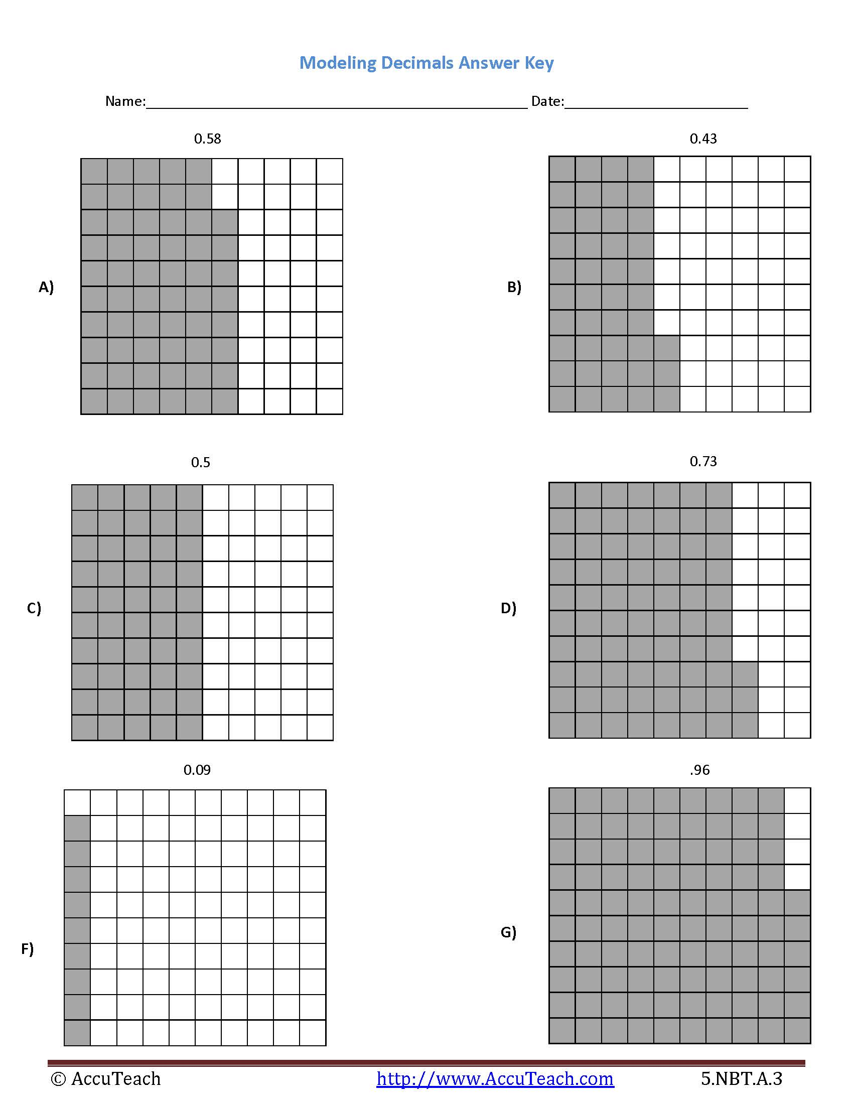Decimal Tenths Grid Worksheet
