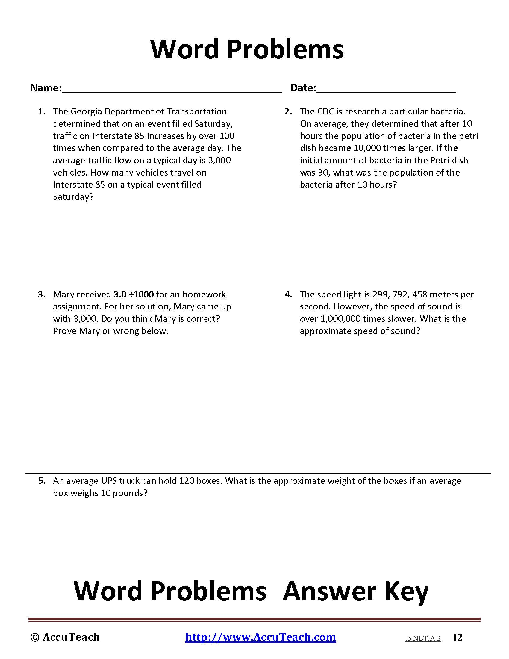 Dividing Decimals By Whole Numbers Word Problems Worksheet