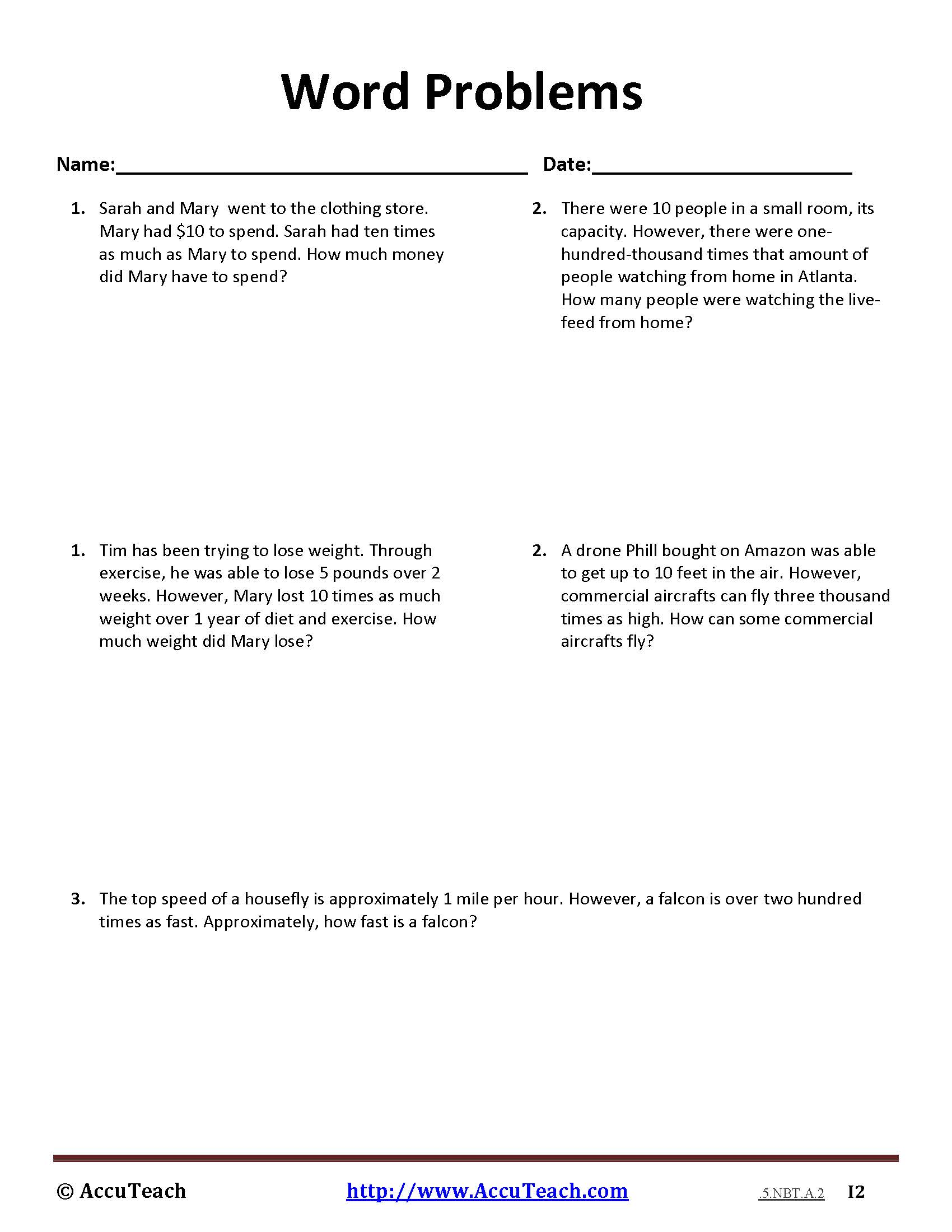 5 Nbt A 2 Common Core Story Problems Activity Sheet 8