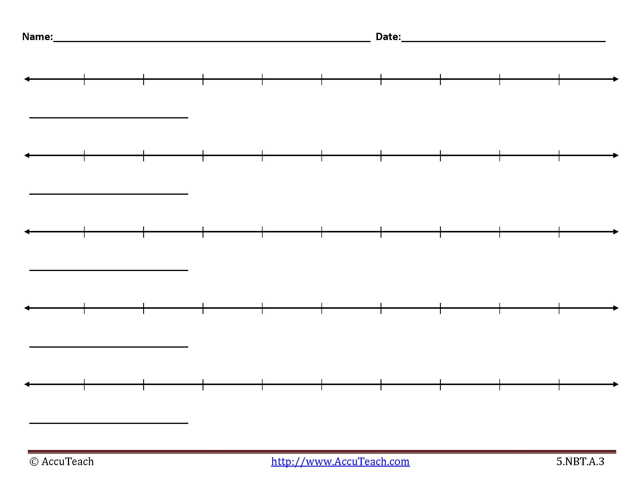 5 Nbt A 3 Lesson Activity Printable Blank Number Lines 11 Accuteach