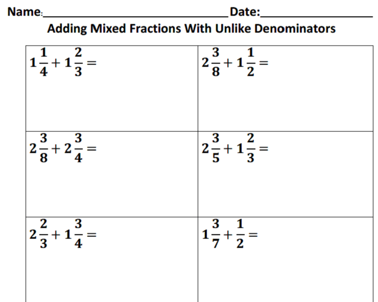 Adding Fractions With Like Denominators Worksheet #1 - AccuTeach
