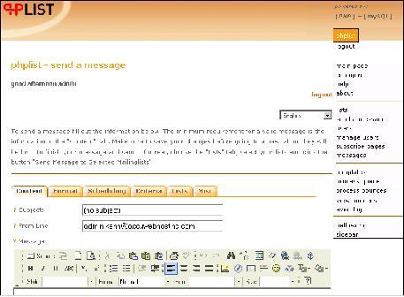 phplist send message
