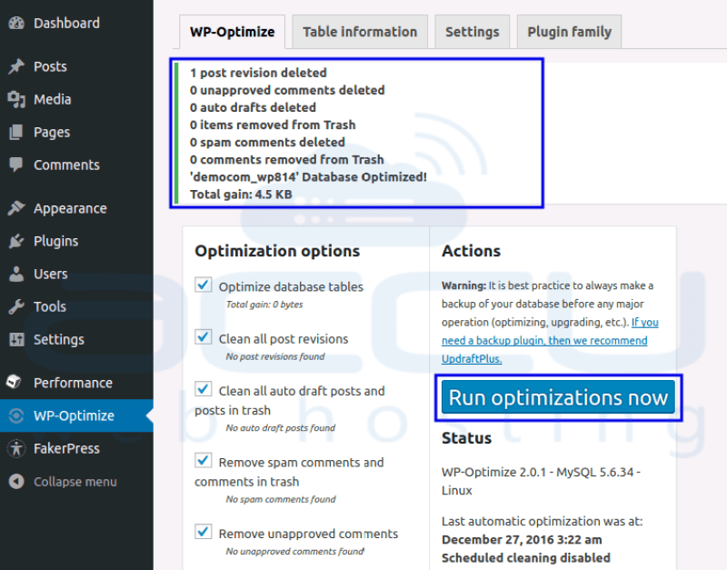 Optimize WordPress Database Using WP Optimize