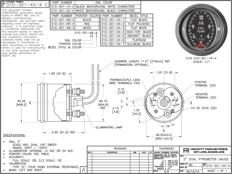 Dual Pyrometer 3-13F EGT Gauge