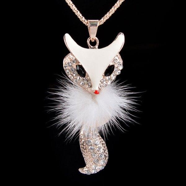 White Fox Pendant Ace Gems
