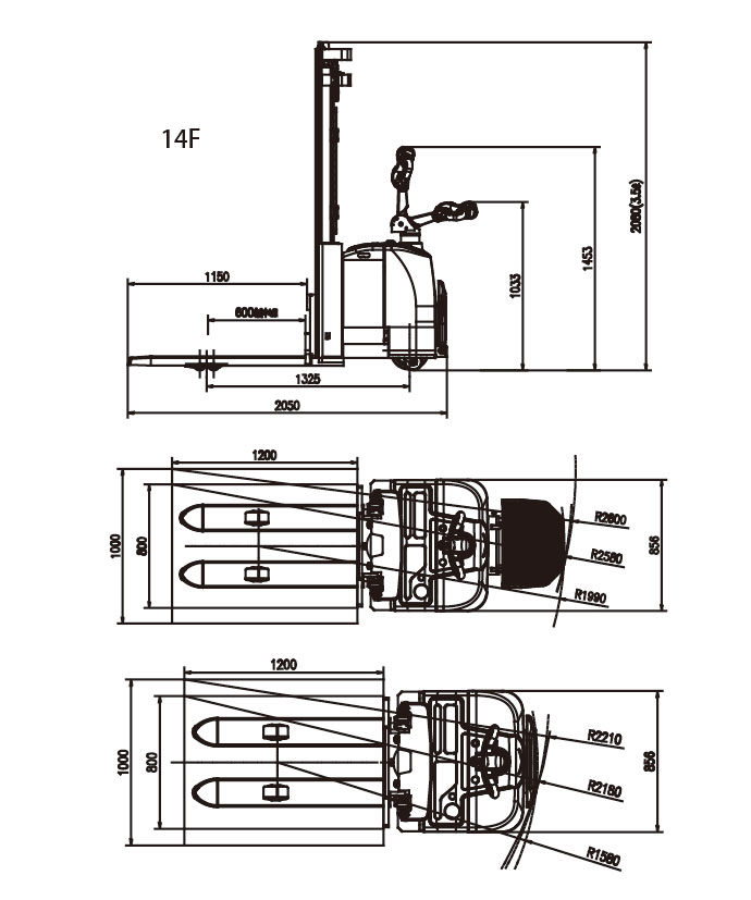 1.2-1.4 Ton Electric Stacker ELES-12/14/14F