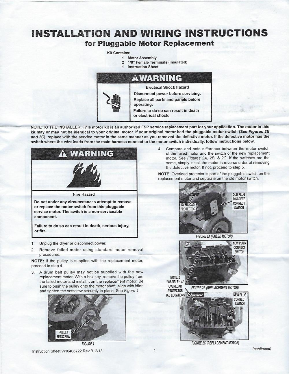 medium resolution of original manufacturer installation and wiring instructions maytag dryer motor replacement