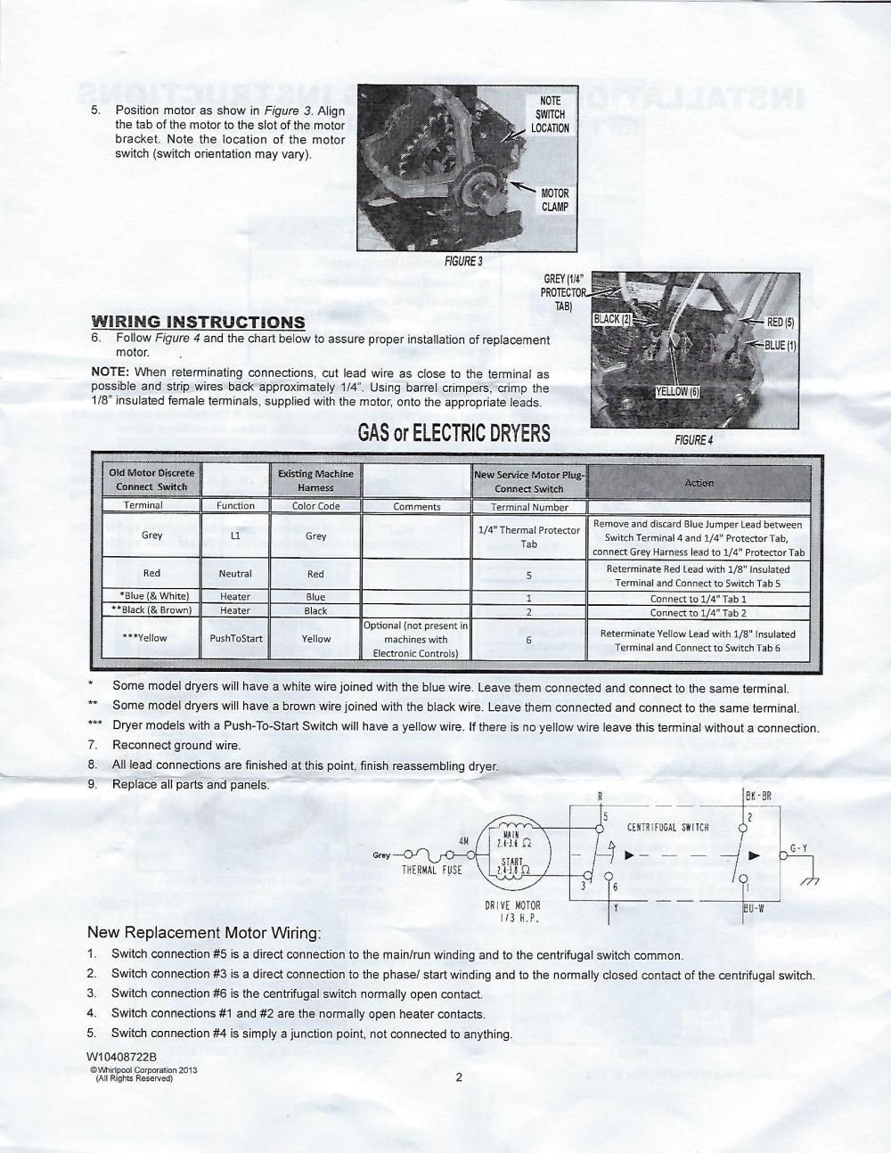 medium resolution of maytag dryer motor replacement w10410999 y303836 y312959 maytag dryer motor wiring harness maytag dryer motor replacement