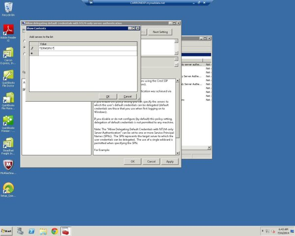 Forgotten Remote Desktop Credentials Server 2008 R2
