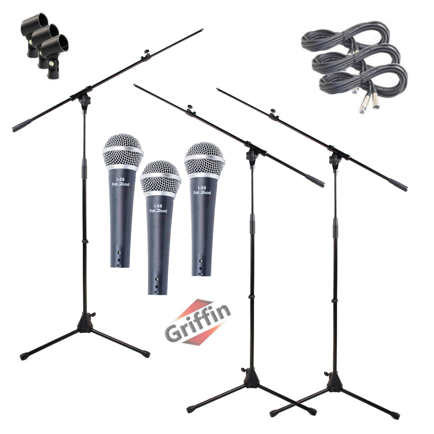 Microphone Boom Arm Stand 3 Pack Holder XLR Cable Cardioid