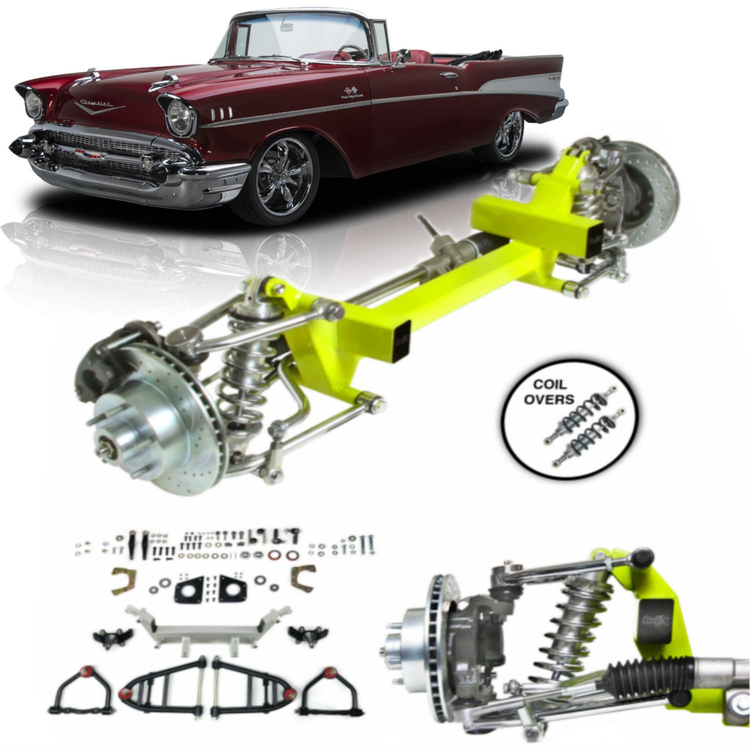 hight resolution of 1955 1957 chevy tri five bel air power steering cornerkiller ifs kit coil over
