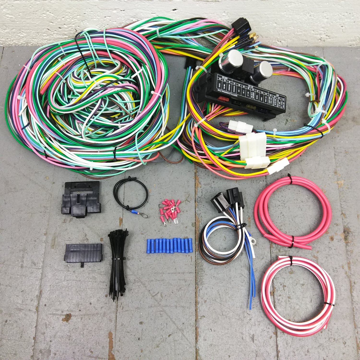 hight resolution of 1955 1957 chevy bel air wire harness upgrade kit fits painless fuse block new bar product description c