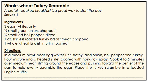 whole-wheat turkey scramble