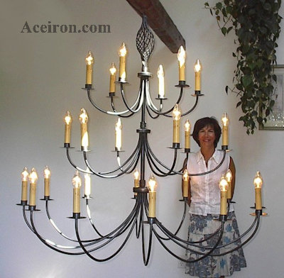 Ace Wrought Iron Custom Large Twisted Basket Chandelier 60 Inch Dia 24 Arm 3 Tier By Clayton J Bryant