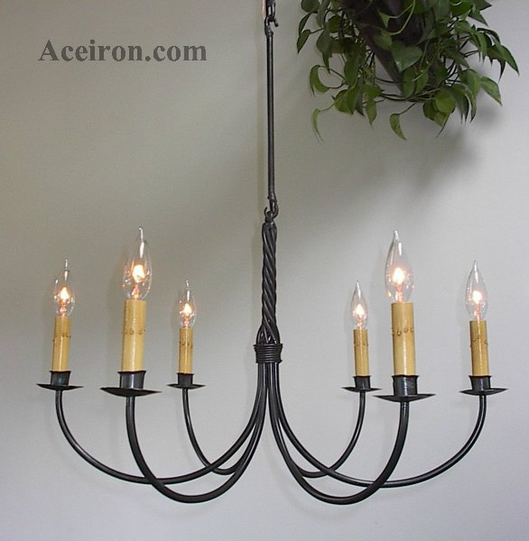 Click Here For A Larger Picture Electric Six Arm Twisted 6600 Wrought Iron Chandeliers