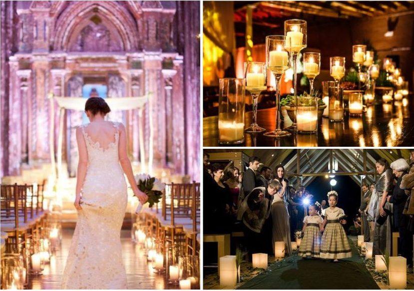 Decoração de igreja com velas
