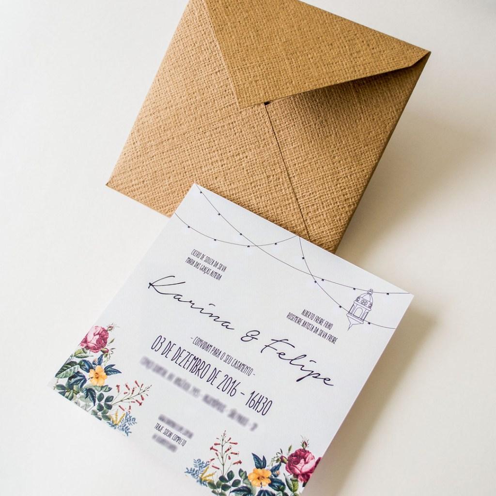 Convites de Casamento em Kraft