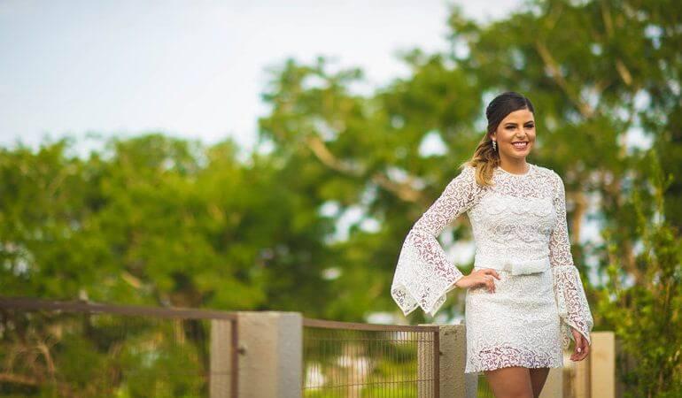 vestido de renda para casamento civil