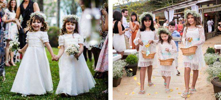Vestido de daminha casamento ao ar livre