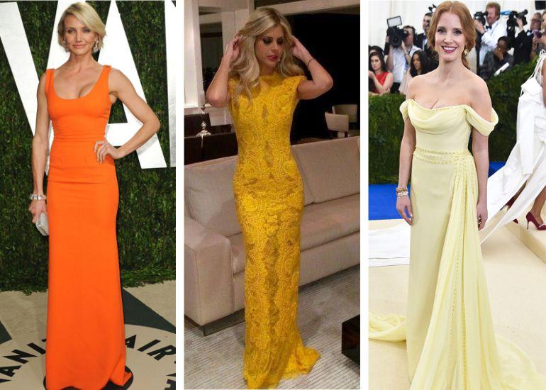 Vestido madrinha de casamento laranja e amarelo
