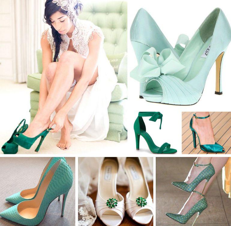 Sapato de noiva verde