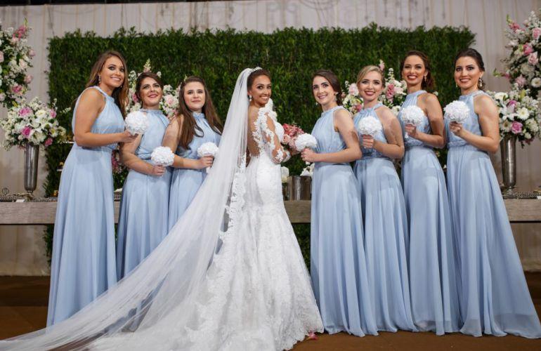 Vestido para madrinha de casamento azul claro