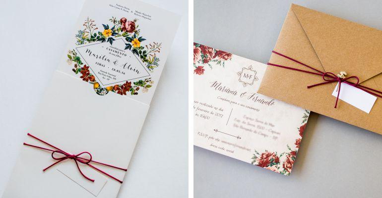 Convite Vermelho Floral