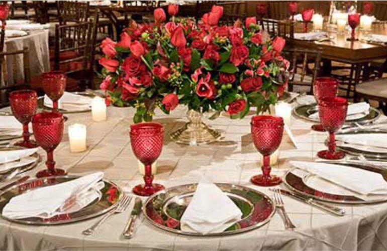 Taças de Casamento decoração vermelha